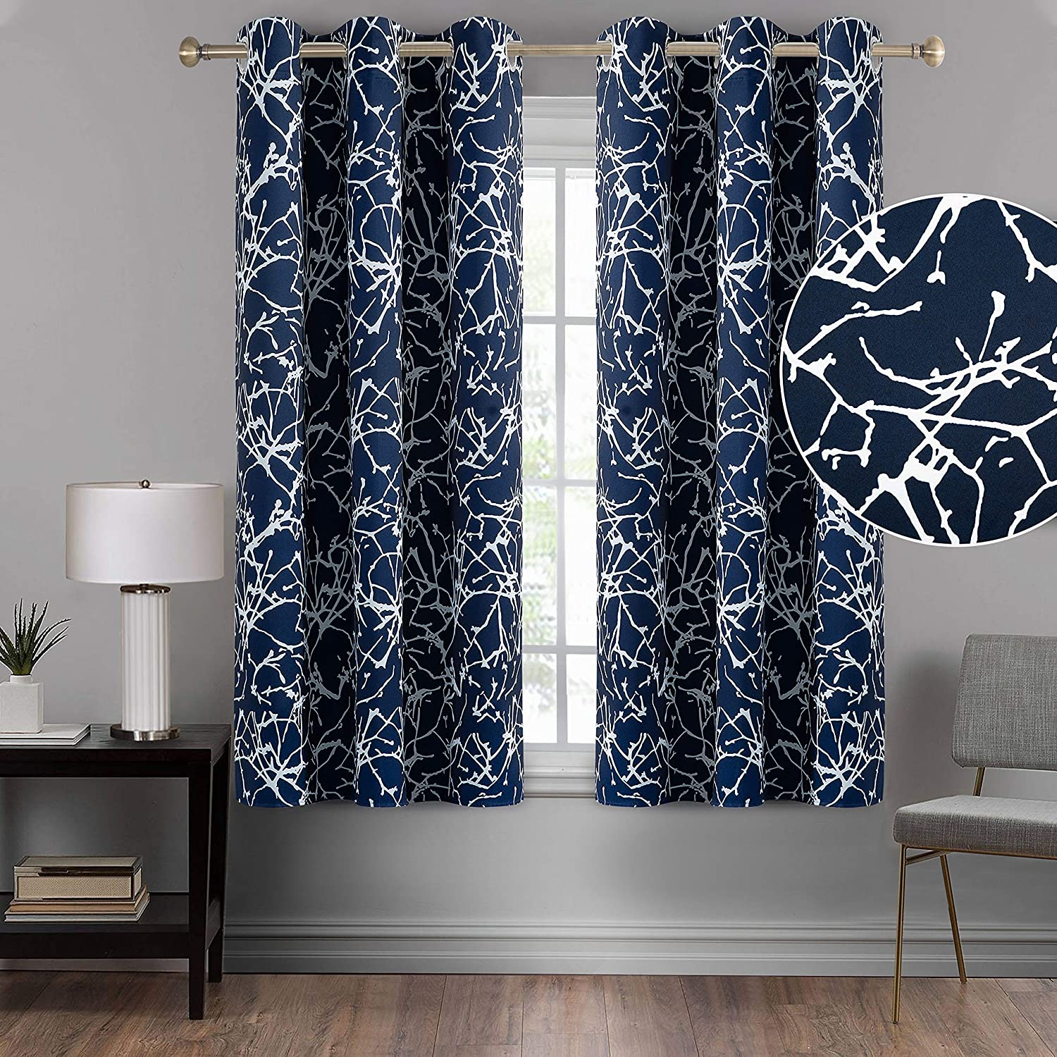 Calimodo Navy Blue Blackout Curtains 42 x 54 Inches for Living Room Tree Branches Printed Grommets Thermal Insulated & Darkening Window Drapes for Home, Hotel, Office and Dorm(2 Panels)