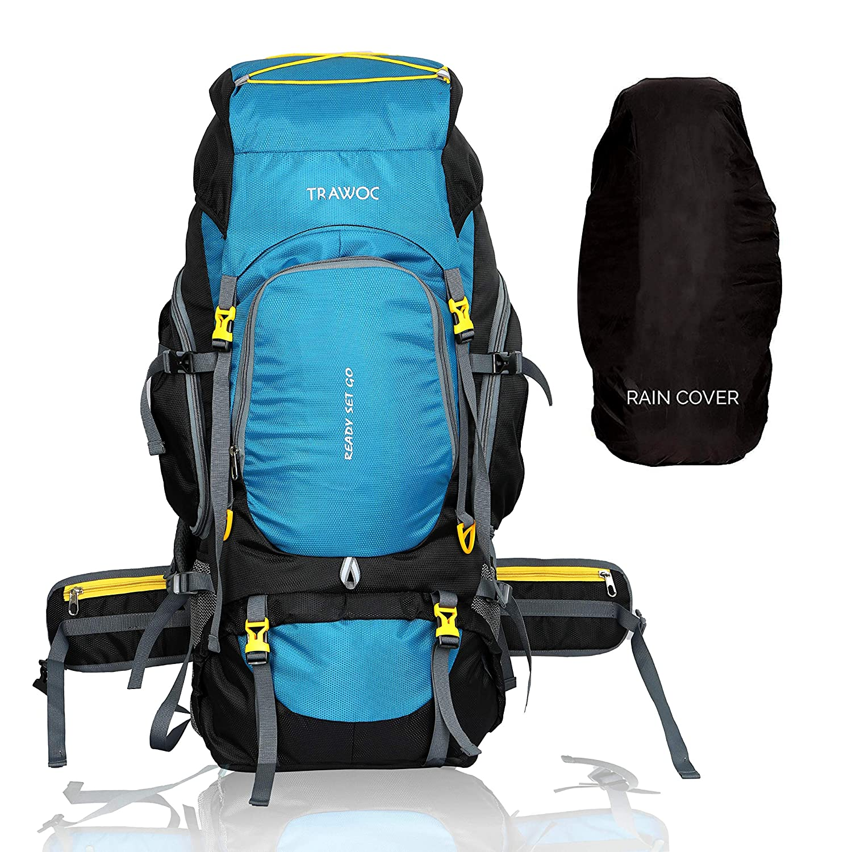 TRAWOC, 75 LTR Travel Backpack for Outdoor Sport Camping Hiking Trekking Bag Rucksack (English Blue)  Best Of Rucksacks & Hiking Trekking Bags in India