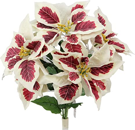 Amazon Com Admired By Nature Gpb6858 Peppermint Artificial Flower Bush Peppermint Poinsettias Home Kitchen