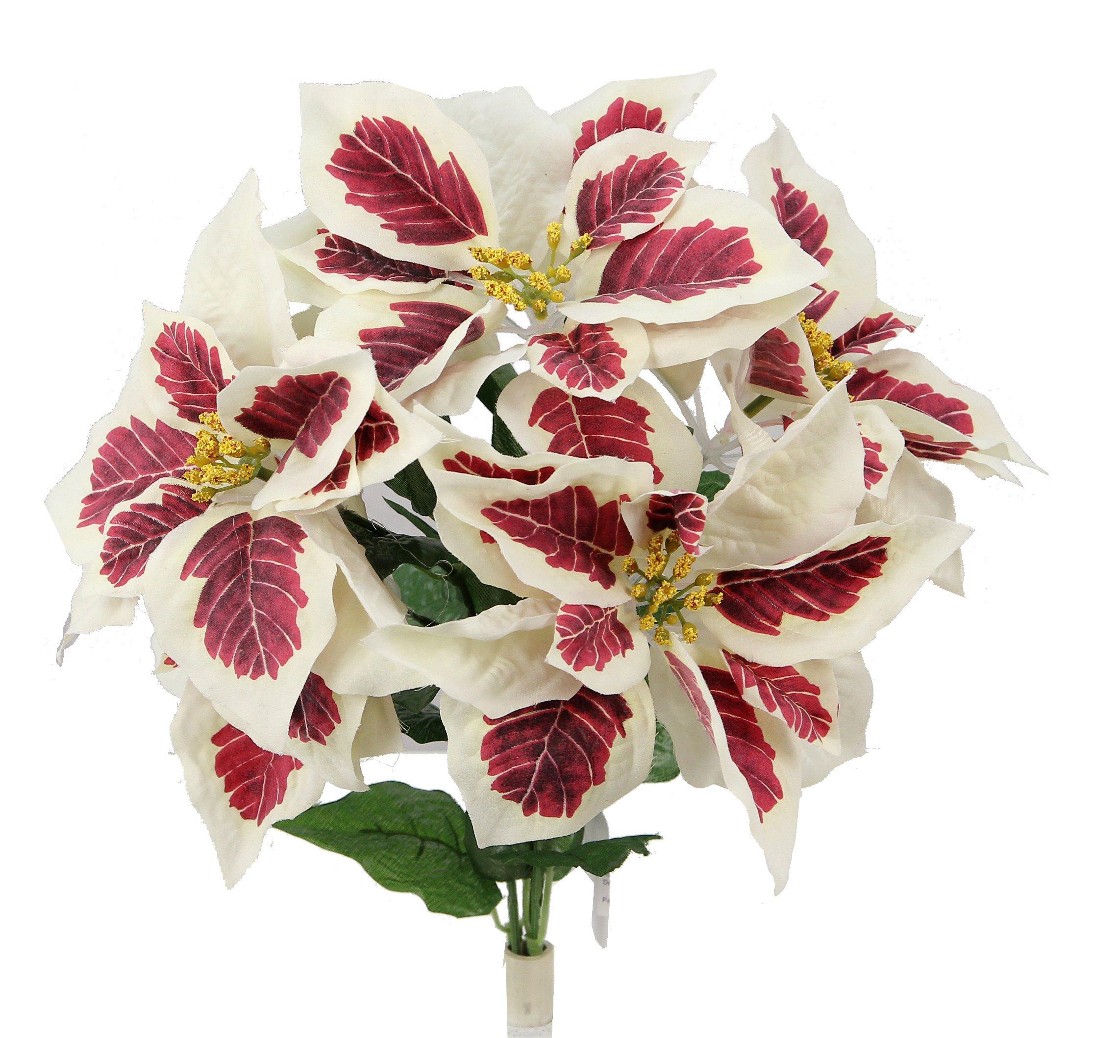 silk flower arrangements admired by nature gpb6858-peppermint artificial flower bush, peppermint poinsettias