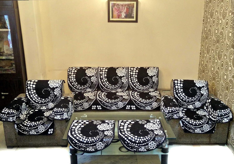 Enjoyable Shc Geometric 12 Piece Polyester Sofa Cover Set Silver And Black Pabps2019 Chair Design Images Pabps2019Com