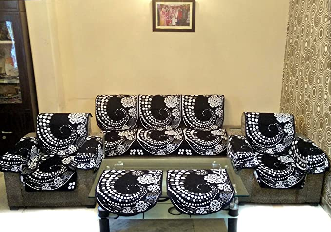 SHC Geometric 12 Piece Polyester Sofa Cover Set, Silver and Black