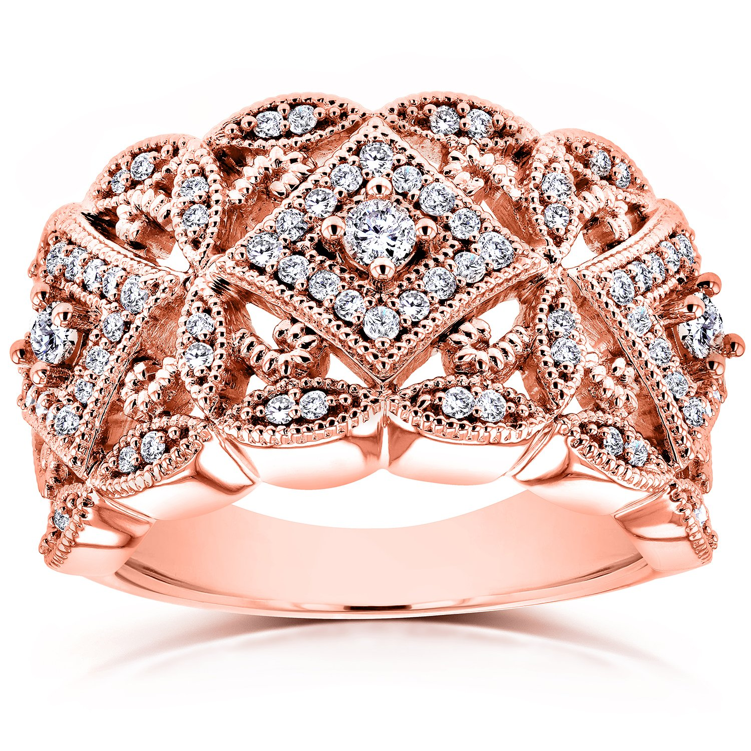 Diamond Antique Filigree Wide Anniversary Ring 1/2 CTW in 10K Rose Gold