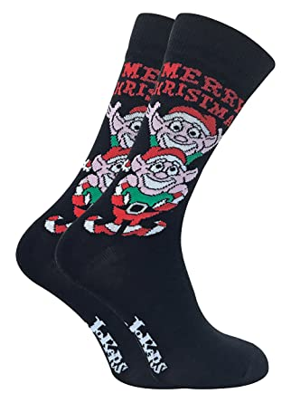 a6a2840cdab9 2 Pack Mens Fun Cartoon Funky Novelty Comfort Cotton Rich Xmas Christmas  Socks for Present Gift (6-11 uk, 2pk Elves): Amazon.co.uk: Clothing