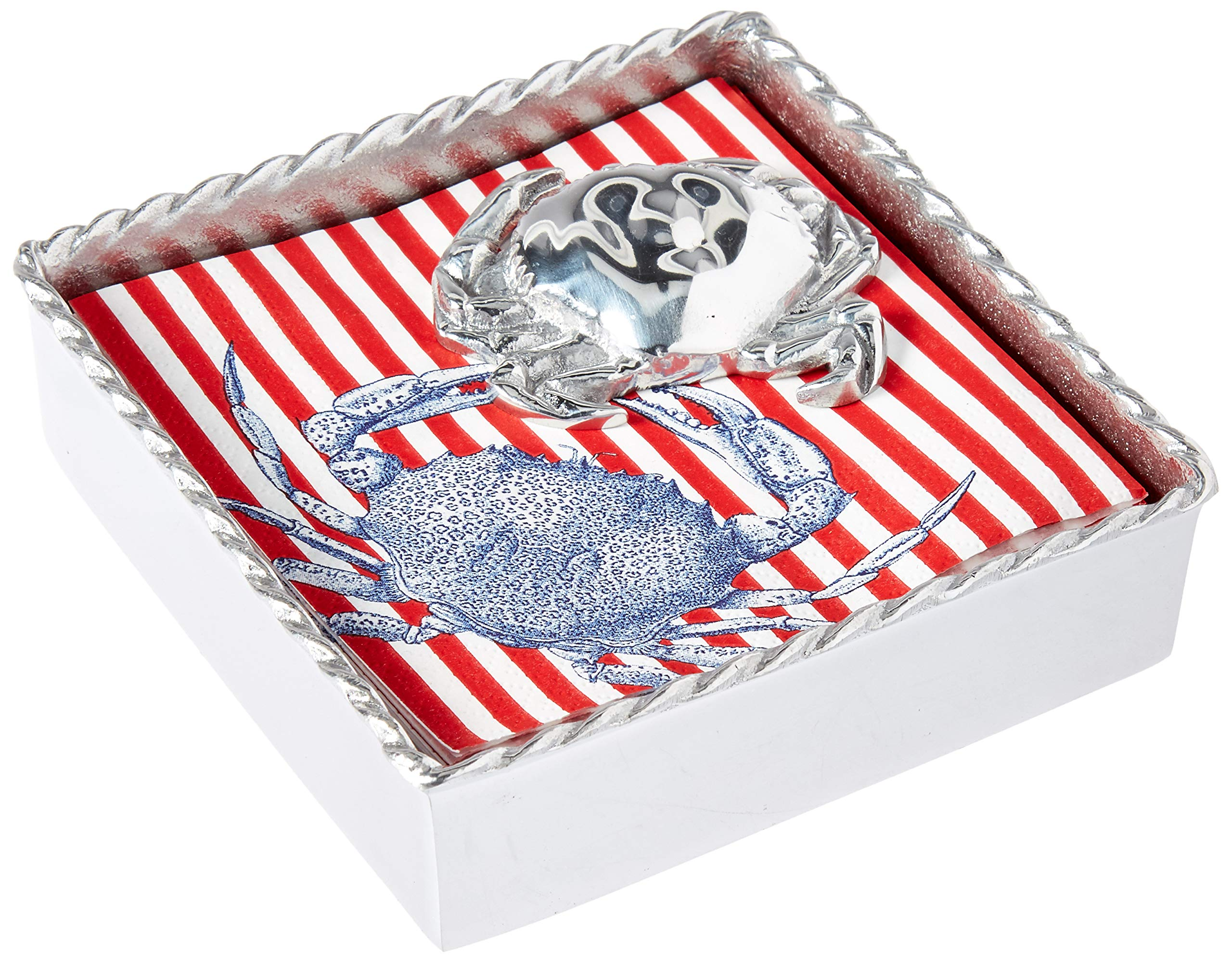Mariposa 2640-C Crab Rope Napkin Box, One Size, Silver by MARIPOSA