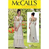 McCall Pattern Company M7420 Misses Empire-Waist, Puff Sleeve, Laced-Back Dress, A5 (6-8-10-12-14)
