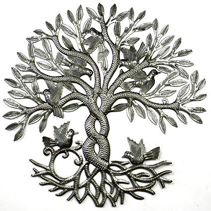 "Handmade Haitian Art Colored Metal Tree of Life with Birds and Flowers Haiti 24/"""