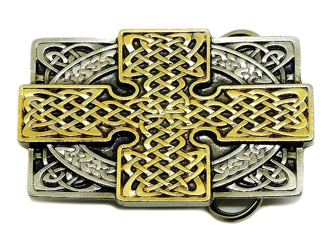 f530280515b5 Noeud Celtique   Croix Boucles de Ceinture - Oblong Conception 24ct Or -  Authentique Ultimate Buckles