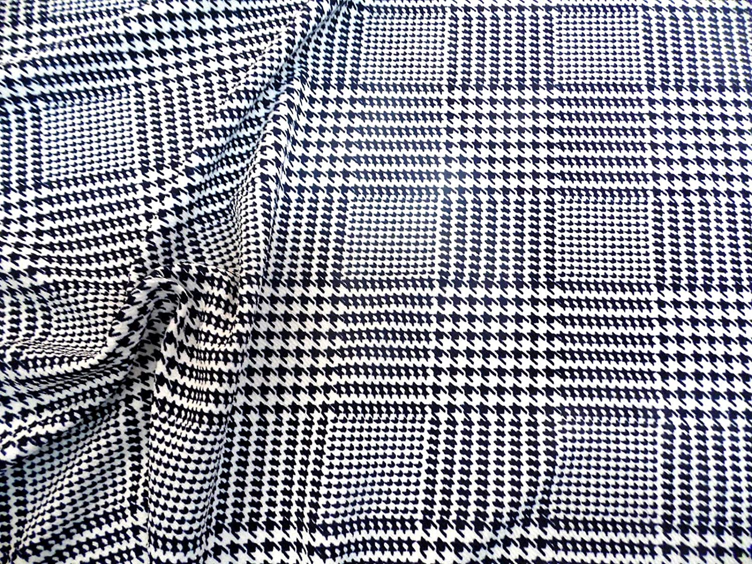 Fabric Printed Liverpool Textured 4 way Stretch Glen Plaid Houndstooth Navy J202