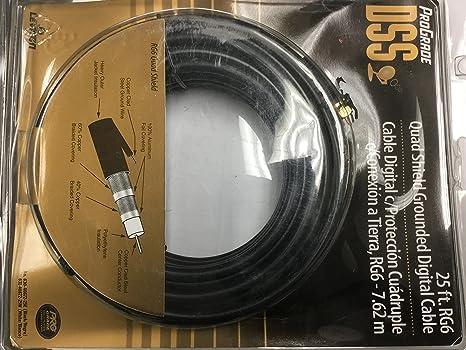 Leviton RG6 Coax Cable, Gold Plated, 25-Feet, Black QUAD SHIELD DIGITAL