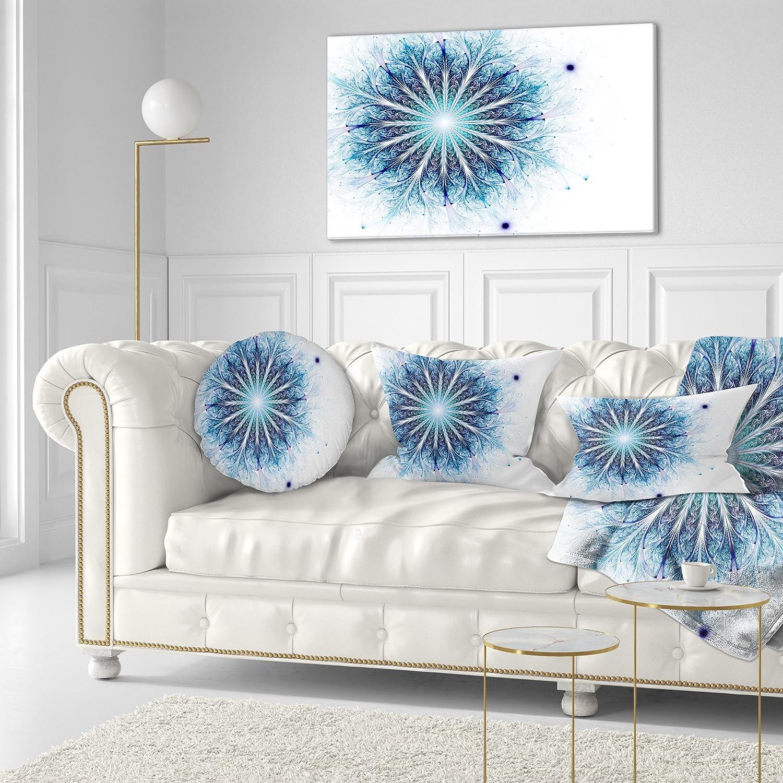 Insert Printed On Both Side Sofa Throw Pillow 20 Designart CU11804-20-20-C Fractal Light Blue Digital Art Flower Round Cushion Cover for Living Room