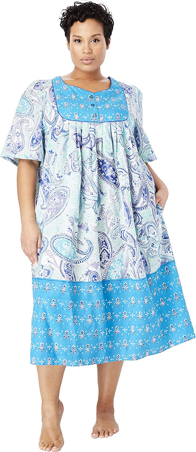 Only Necessities Womens Plus Size Mixed Print Short Lounger