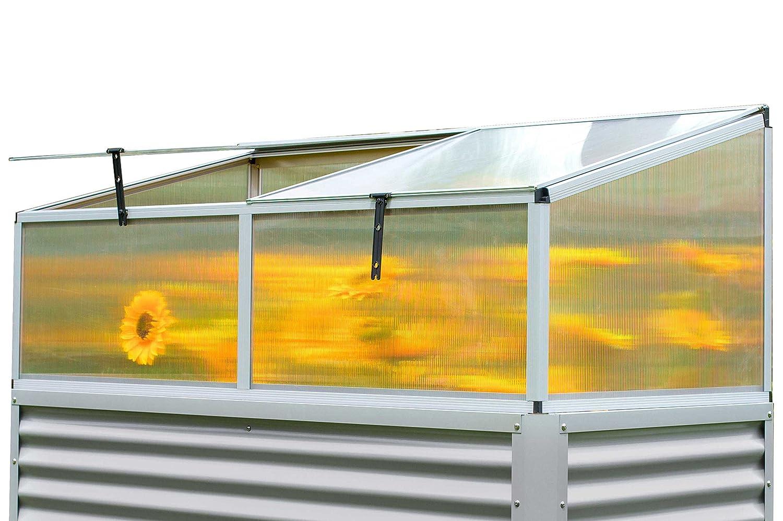 OUTFLEXX Hochbeet-Aufsatz aus Alu/Hohlkammerplatten in Silber, ca. 176x86x60 cm für Frühbeete, Hügelbeete und Gartenbeete zum Schutz der Blumen, Pflanzen, Gemüse und Kräuter vor Witterungseinflüssen
