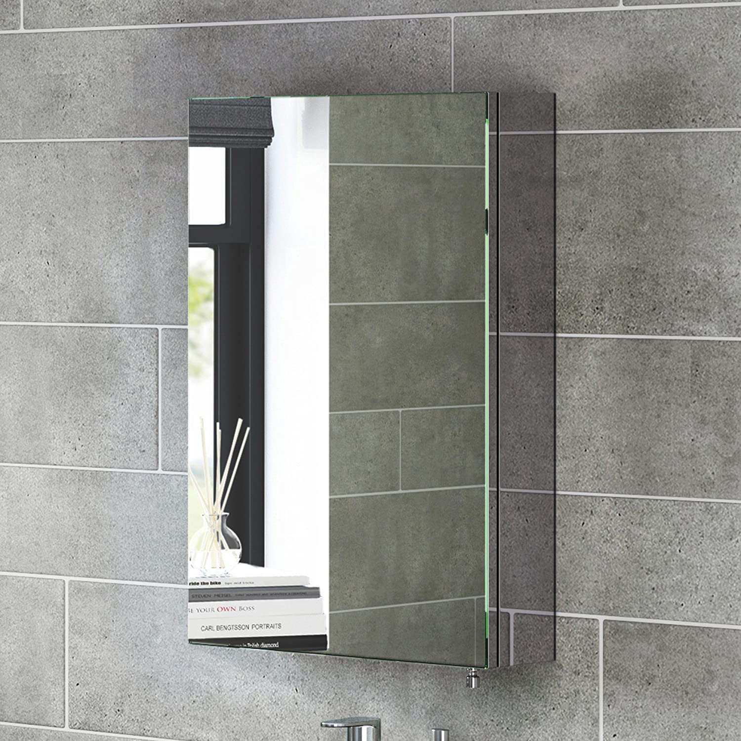 600 X 400 Stainless Steel Bathroom Mirror Cabinet Modern Single Door Storage Unit