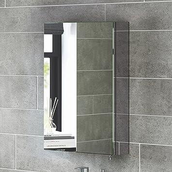 600 X 400 Stainless Steel Bathroom Mirror Cabinet Modern Single Door Storage Unit