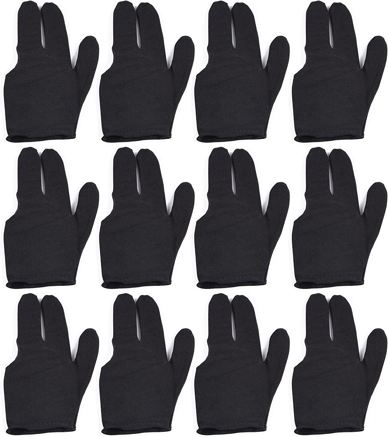 Black T/&R sports Billiard Glove 3 Fingers Show Pool Cue Gloves Pack of 12 Pieces