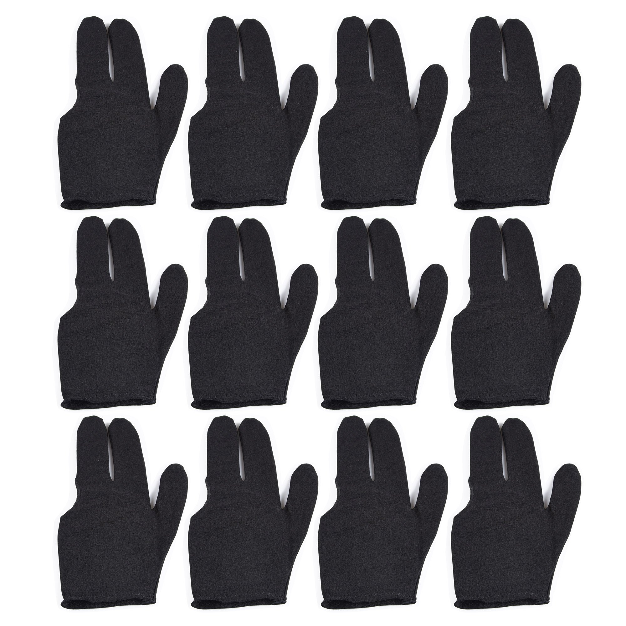 T&R sports Billiard Glove 3 Fingers Show Pool Cue Gloves, Pack of 12 Pieces, Black