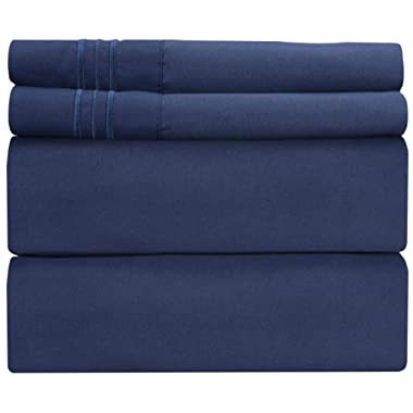 King Size Sheet Set - 4 Piece - Hotel Luxury Bed Sheets - Extra Soft - Deep Pockets - Easy Fit - Breathable & Cooling - Wrinkle Free - Comfy – Navy Blue Bed Sheets - Kings Royal Sheets – 4 PC
