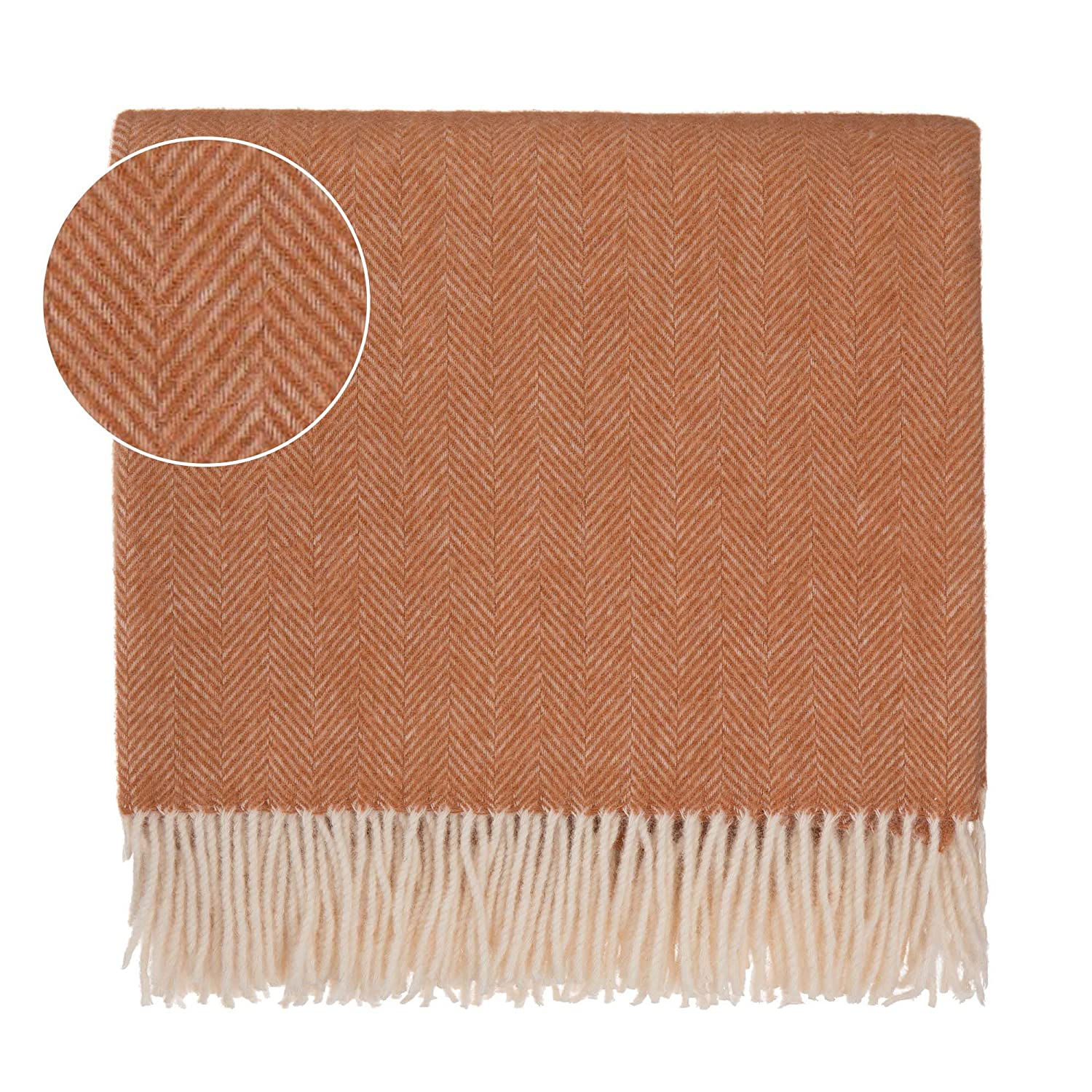 Phenomenal Urbanara 50 Alpaca Wool 50 Merino Wool Throw Corcovado 51X67 Terracotta Off White With Fringe Blanket With Decorative Herringbone Weave Design Theyellowbook Wood Chair Design Ideas Theyellowbookinfo
