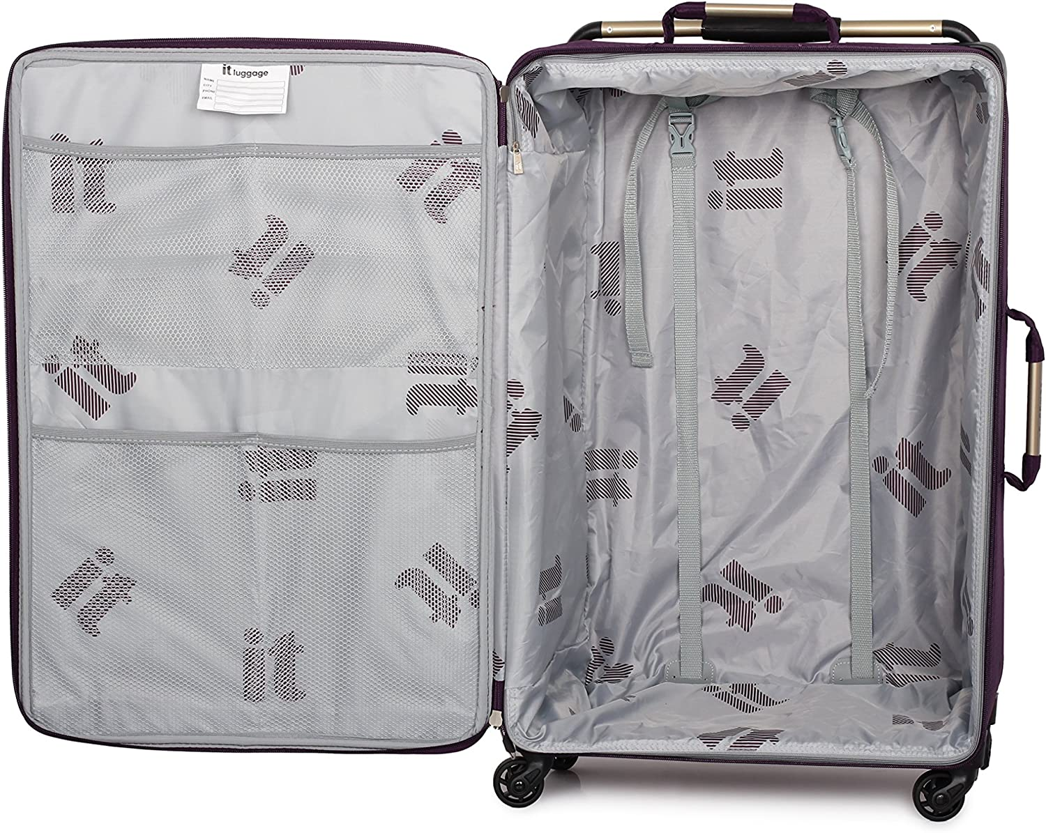 IT Luggage Worlds Lightest Set of 3 Four Wheel Spinner Suitcases Grape Print