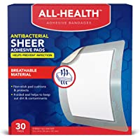 All Health Antibacterial Sheer Adhesive Pad Bandages, 3 in x 4 in, 30 ct | Helps Prevent Infection, Extra Large…