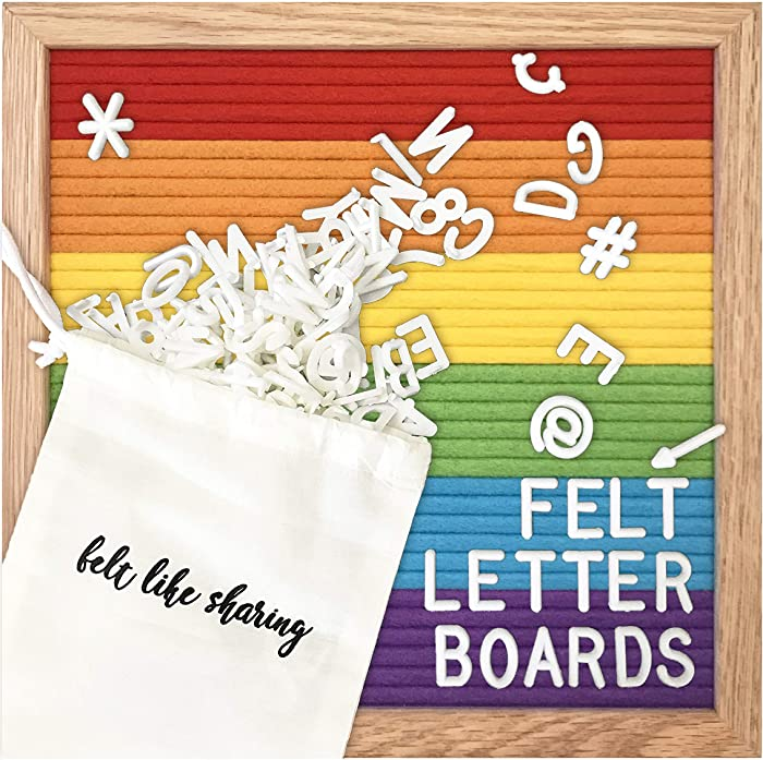 Rainbow Colorblock Felt Letter Board 10x10 Inches. Changeable Letter Boards Include 300 White Plastic Letters and Oak Frame.…