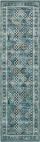 Unique Loom Cambridge Collection Traditional Textured Pattern Vintage Dark Blue Runner Rug 3 0 x 10 0