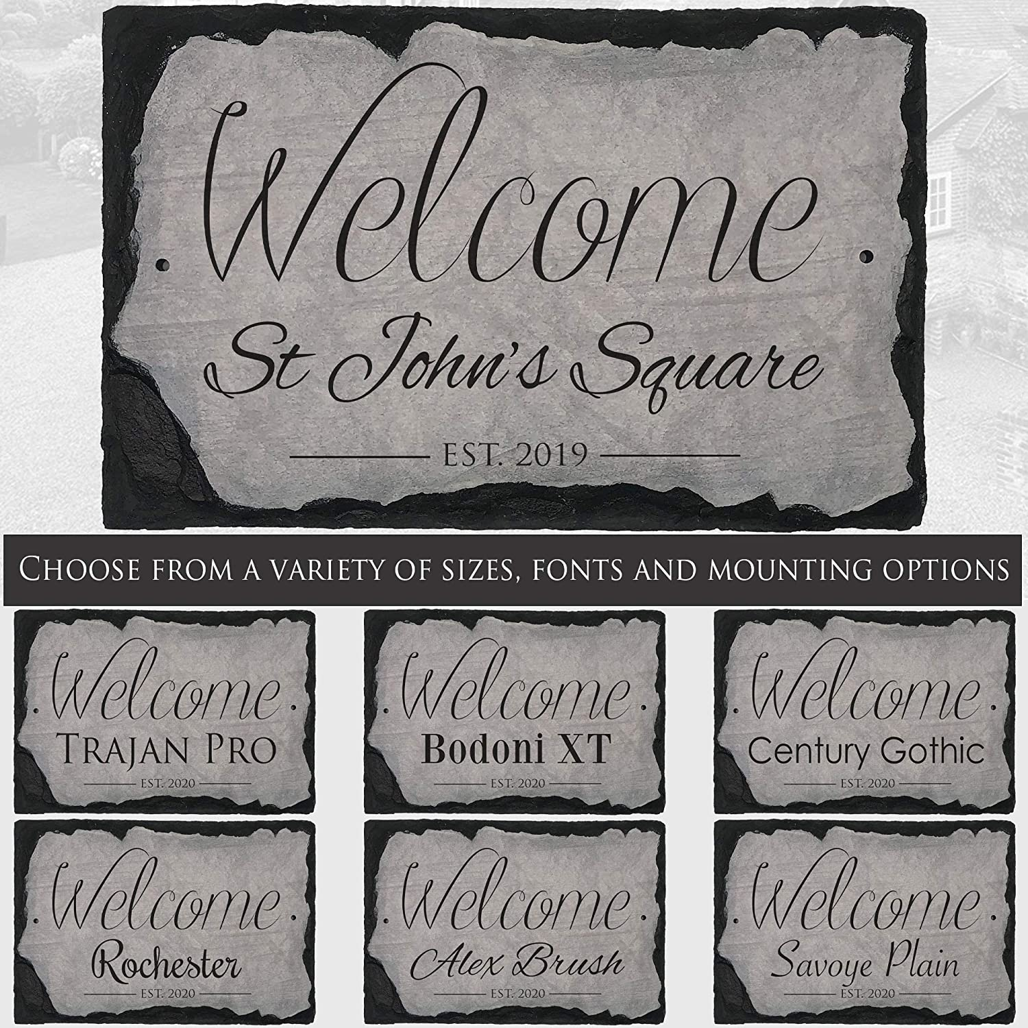 "Sassy Squirrel Beautifully Handcrafted and Customizable Slate Home Address Plaque (16""x10"" or 12""x8"") Personalized House Sign with and Hardware. Improve The Curb Appeal of Your Property (16""x10"")"