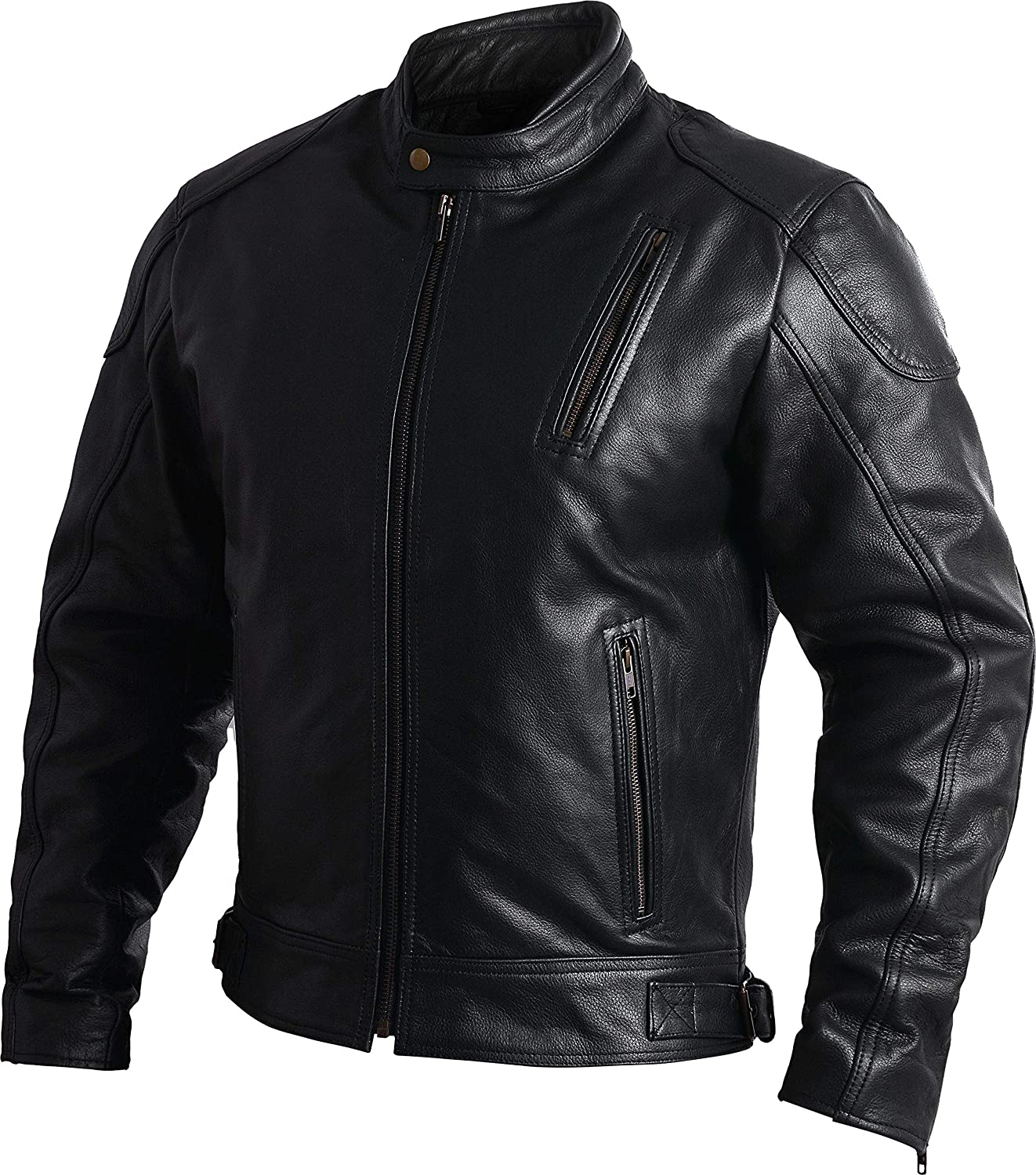 S Mens Leather Motorcycle Jackets Black Moto Riding Motorbike Racing Cafe Racer Biker Jacket CE Armored
