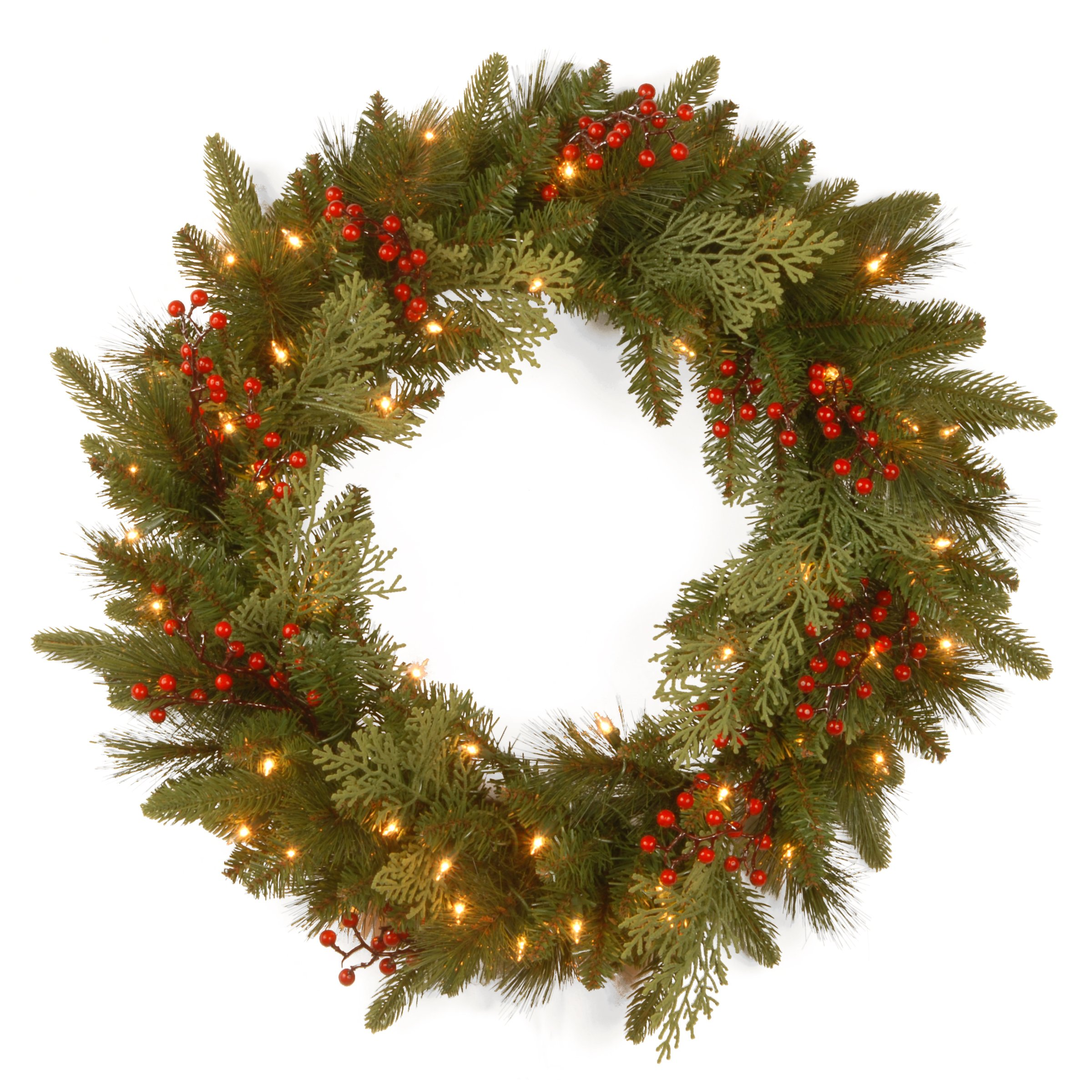 National Tree 24 Inch Feel Real  Classical Collection Wreath with 8 Red Berries, 8 Cedar Leaves and 50 Battery Operated Warm White LED Lights with Timer (PECC3-300-24WB1)
