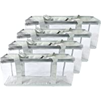 Clear View DVD Blu-Ray Storage Bags - Best Large Capacity Portable Media Organizer Cases for Carrying Film Discs, Home Movies, Video Games - Transparent Lightweight Plastic Zip Totes