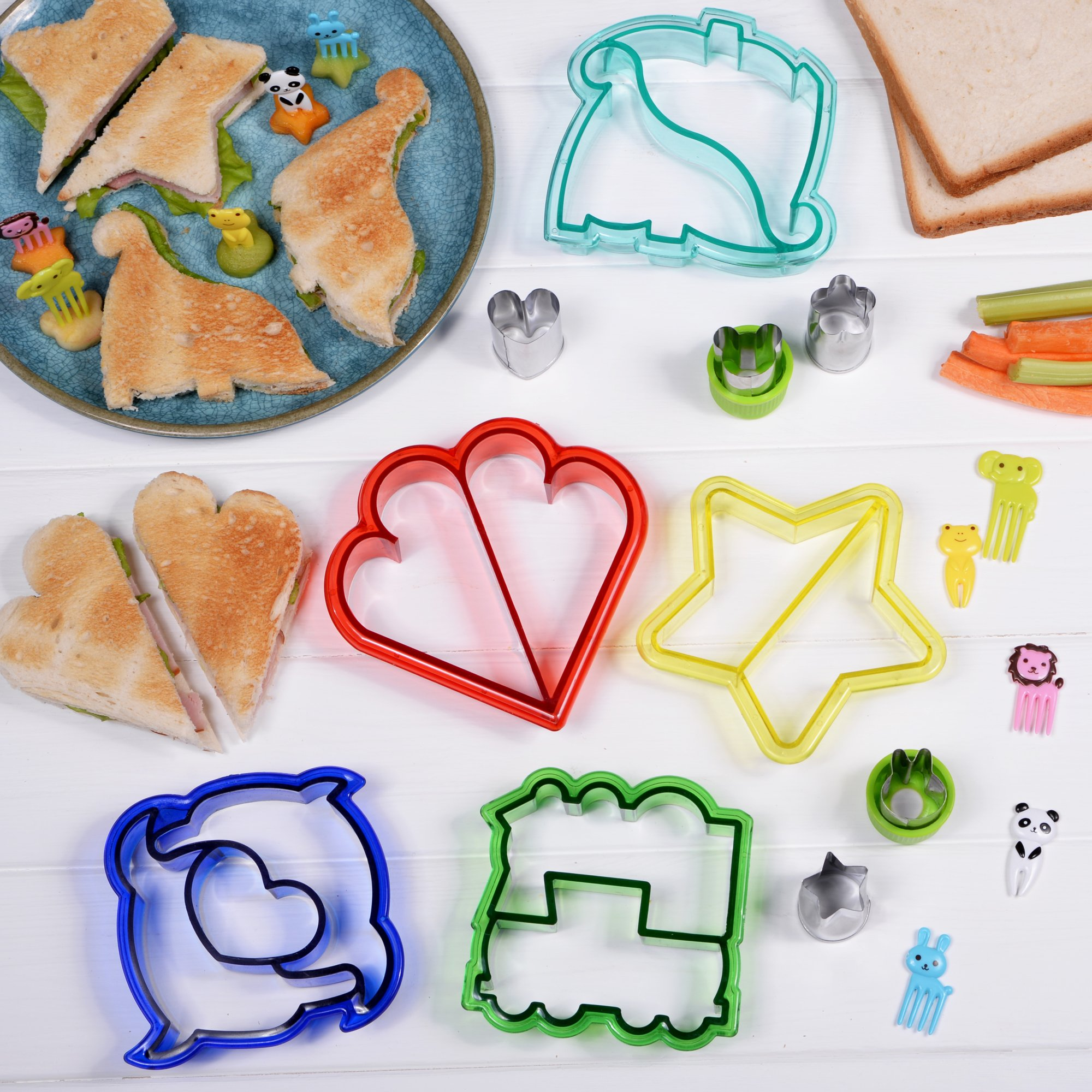 [20-Piece Set] Sandwich Cutters for Kids - 5 Sandwich Cutter Shapes, 5 Vegetable Cutters and FREE 10 Bento Decorations by GO FRESH (Image #5)