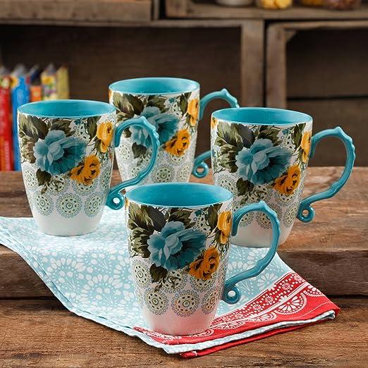Set of 4 The Pioneer Woman 26-Ounce Beautiful Blue and Yellow Rose Shadow Jumbo Coffer Latte Drinkware Mug