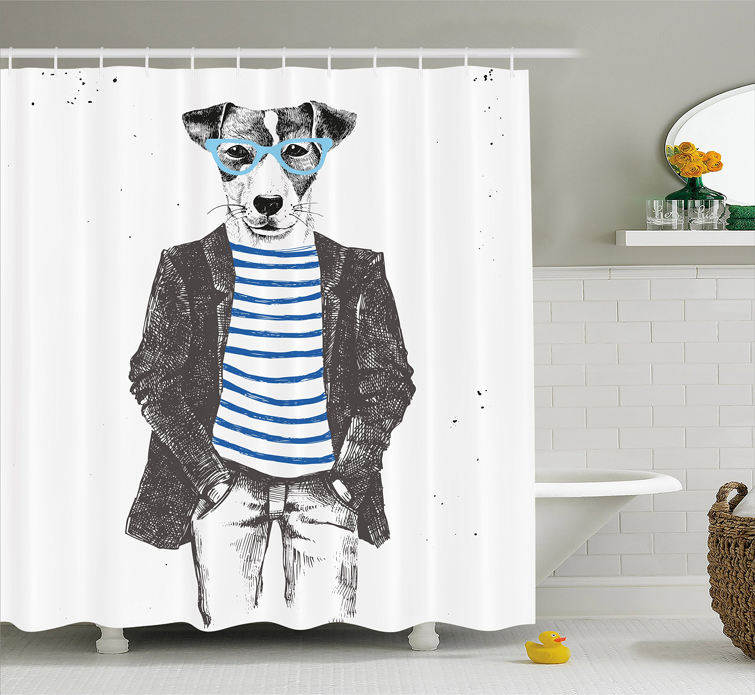 Ambesonne Quirky Shower Curtain by, Dressed Up Hipster Dog with Glasses Hand Drawn Sketchy Fashion Animal Fun, Fabric Bathroom Decor Set with Hooks, 75 Inches Long, Black White Blue by Ambesonne