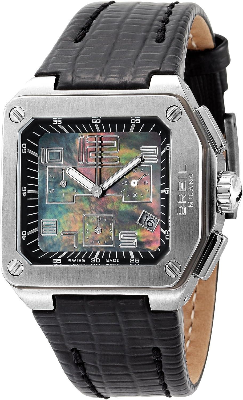 Breil BW0397 - Reloj cronógrafo de mujer de cuarzo con correa de piel negra (cronómetro) - sumergible a 100 metros