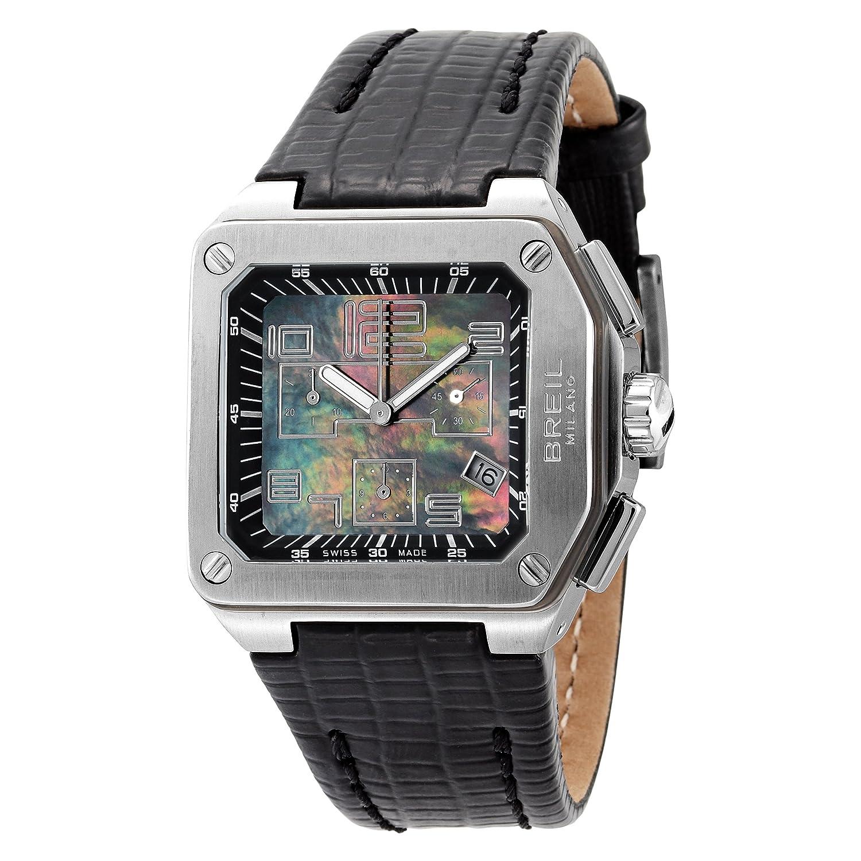 Breil BW0397 - Reloj cronógrafo de mujer de cuarzo con correa de piel negra (cronómetro) - sumergible a 100 metros: BREIL: Amazon.es: Relojes