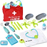 Customizable Pretend Play Doctor Set 19PC with Custom Doctor Coat and Bag - Light Up Stethoscope, Needle, Thermometer, etc. Educational Toy