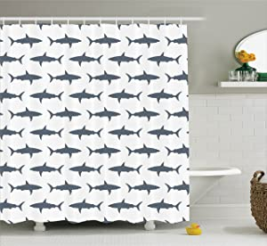 Ambesonne Fish Shower Curtain Set Sea Animals Decor, Sharks Swimming Horizontal Silhouettes Traveler Powerful Danger Design Pattern, Bathroom Accessories, with Hooks, Gray and White