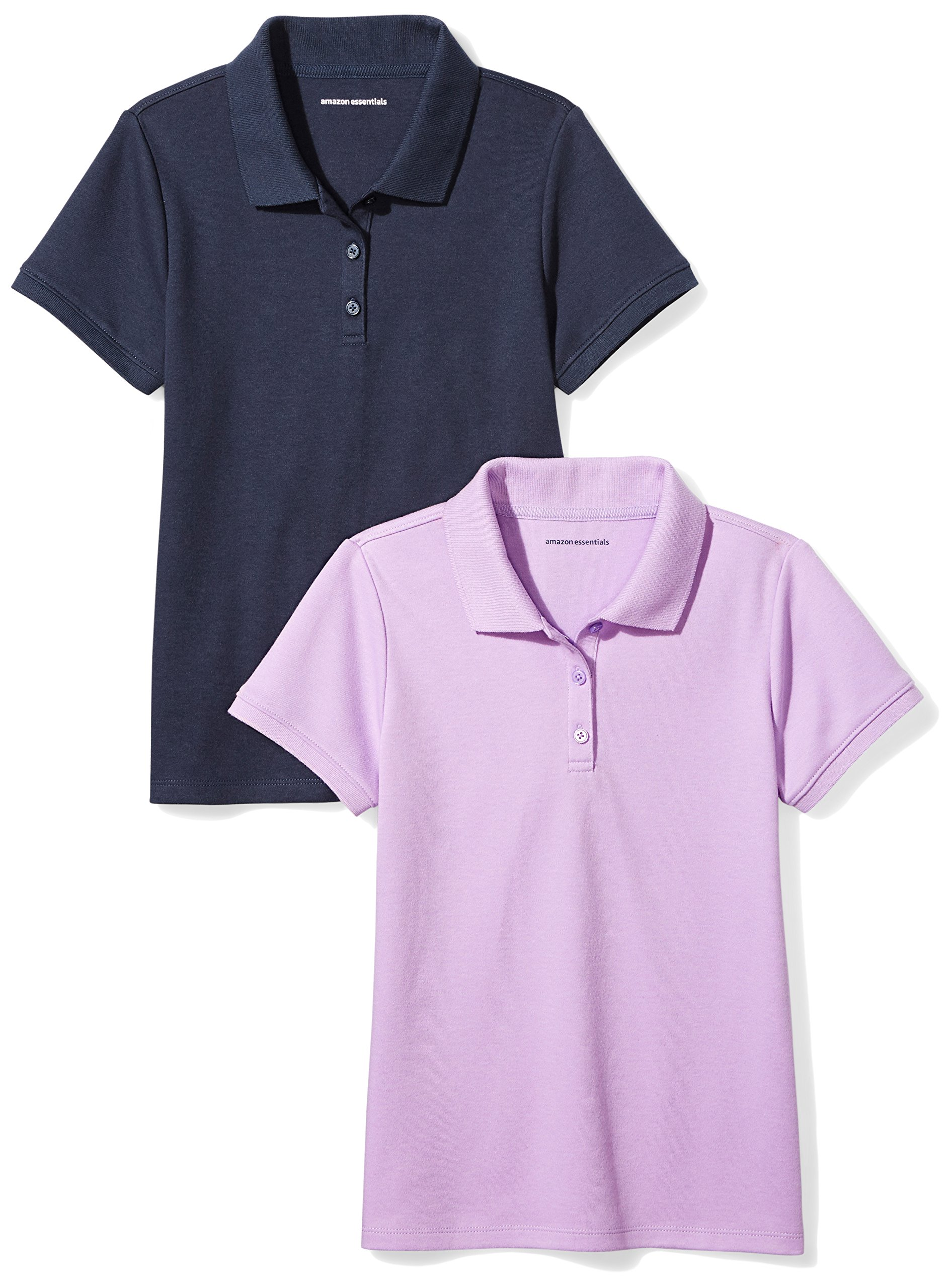 Amazon Essentials Girls' Uniform 2-Pack Interlock Polo, Lilac/Navy, S (6-7)