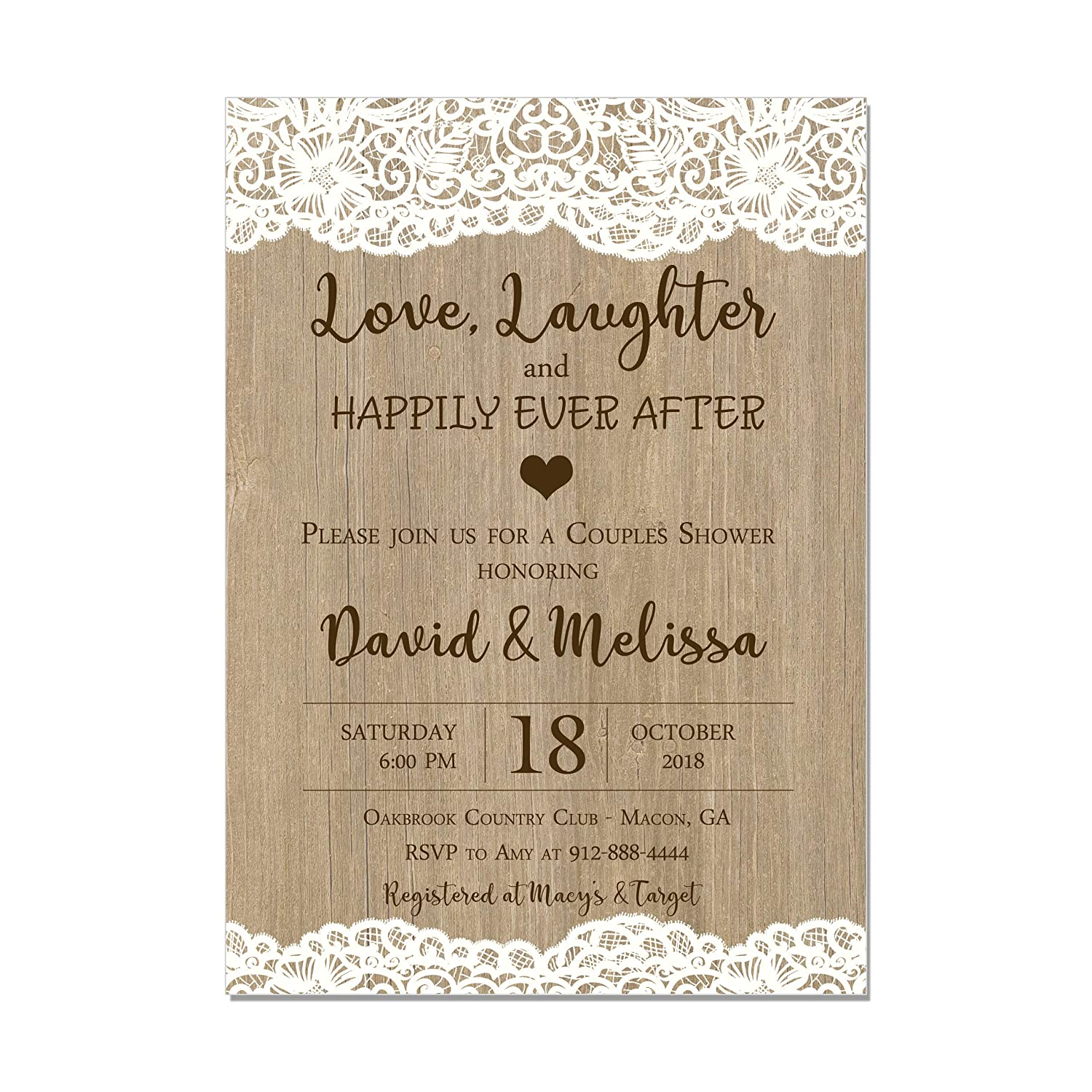 Amazon Com Couples Wedding Shower Invitation Lace And Wood Love