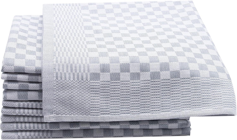ZOLLNER 10 Trapos de Cocina, algodón, a Cuadros Grises, 46x70 cm ...