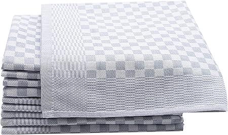 ZOLLNER 10 Trapos de Cocina, algodón, a Cuadros Grises, 46x70 ...