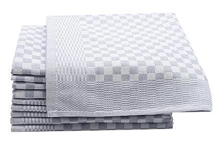 ZOLLNER Set de 10 Trapos de Cocina de algodón, diseño en damero, Gris Antracita