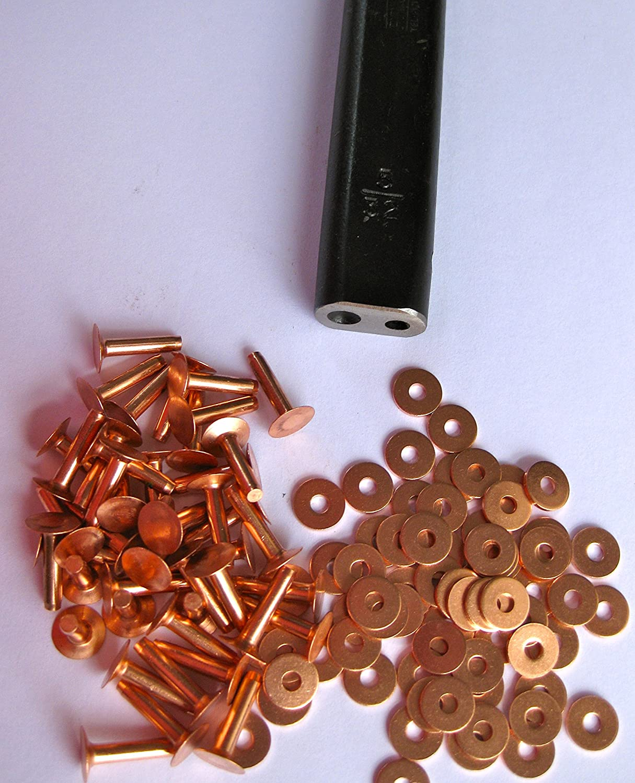 100 Cuivre Saddler rivets et outil de ré glage de calibre 10 x 1/2 et rondelles R S Trade Supplies