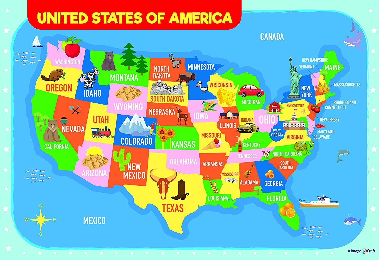 Georgia Map For Kids.Amazon Com Usa Map Poster For Kids 13 X 19 Inch By Imagencraft With