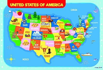 Kids Usa Map.Amazon Com Usa Map Poster For Kids 13 X 19 Inch By Imagencraft With