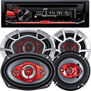JVC KD-R370 Single Din in-Dash CD/Am/FM/Car Stereo W/Detachable Faceplate + 520 Watts 6x9 Inches (2 Speakers) + 350 Watts 6 Inches (2 Speakers)