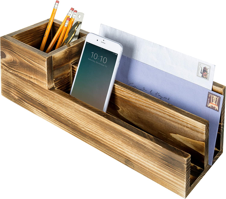 3-Compartment Burnt Wood Desktop Organizer, Pen Pencil Holder & Mail Sorter/Modern Home Office Decor Accessory