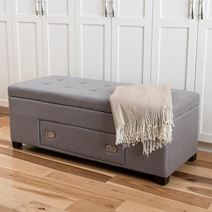 Ramona Light Grey Tufted Fabric Storage Ottoman With Drawer