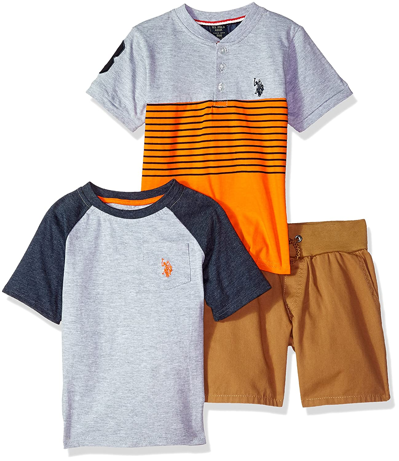U.S. Polo Assn. Boys' T-Shirt and Short 3 Piece Set